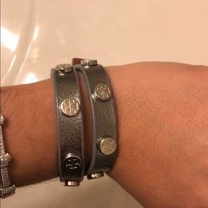 Tory Burch metallic leather wrap bracelet